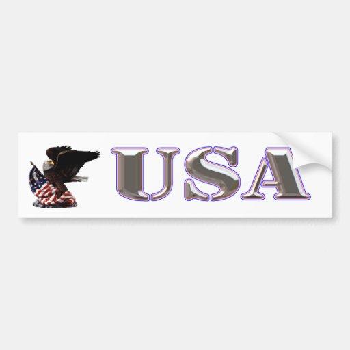 American Eagle Silver USA Red White Blue Trim Bumper Stickers