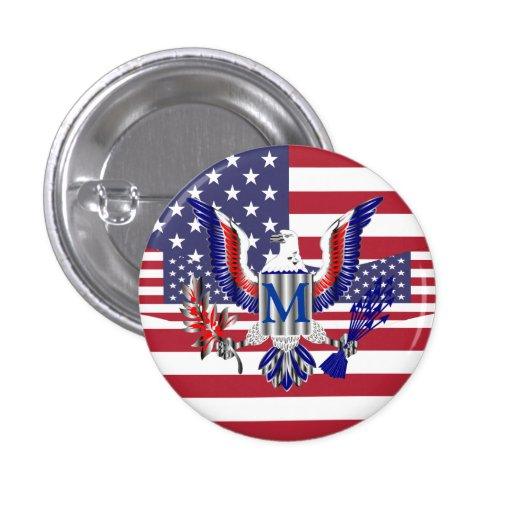 American eagle symbol and flag pinback buttons