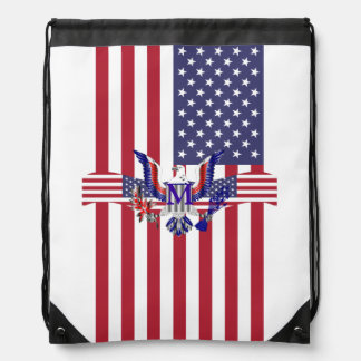American eagle symbol and flag drawstring bag