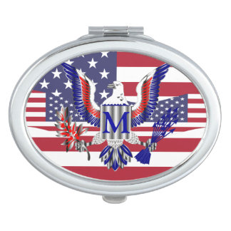American eagle symbol and flag vanity mirror
