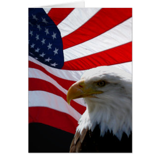 American Eagle & Waving Flag Greeting Card