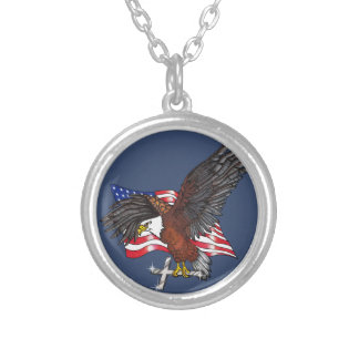American Eagle with Cross Silver Plated Necklace