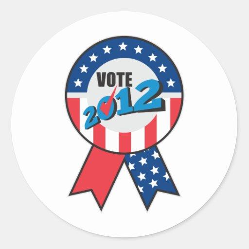 American election USA ribbon tick 2012 Round Stickers