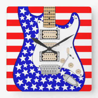 American Electric Guitar Square Wall Clock