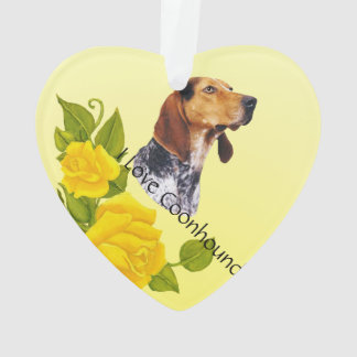 American English Coonhound and Yellow Roses Ornament
