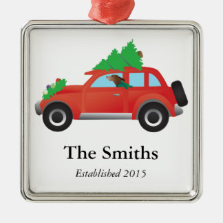 American English Coonhound Driving a Christmas Car Silver-Colored Square Decoration