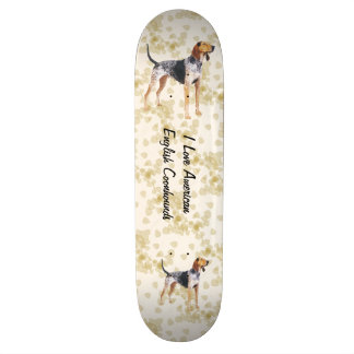 American English Coonhound with Tan Leaves Custom Skateboard