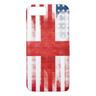 American English Flag | Wood Grain & Paintstrokes iPhone 7 Case