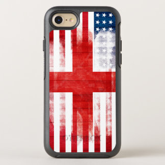 American English Flag | Wood Grain & Paintstrokes OtterBox Symmetry iPhone 8/7 Case