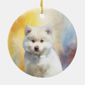American Eskimo Dog Art Portrait Ceramic Ornament