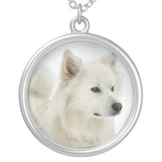American Eskimo Dog Art Silver Plated Necklace