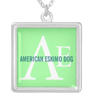 American Eskimo Dog Breed Monogram Square Pendant Necklace