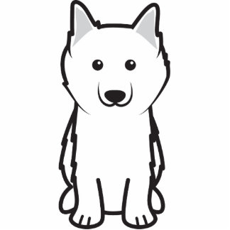 American Eskimo Dog Cartoon Standing Photo Sculpture