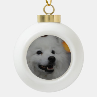 American Eskimo Dog Ceramic Ball Christmas Ornament