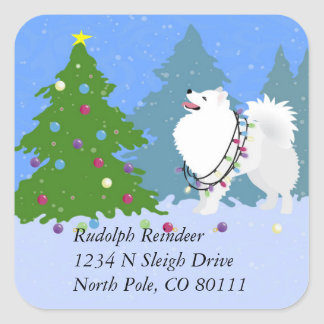 American Eskimo Dog Christmas Address Return Label