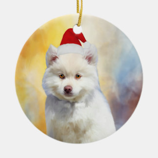 American Eskimo Dog Christmas Santa Hat Ceramic Ornament