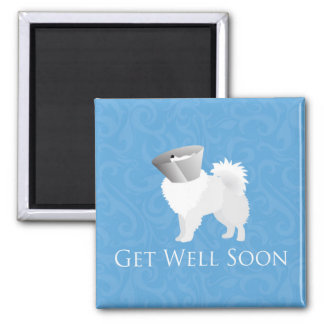 American Eskimo Dog Get Well Soon Design Square Magnet