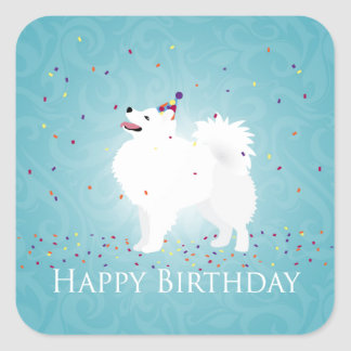 American Eskimo Dog Happy Birthday Design Square Sticker
