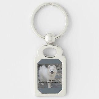 American_Eskimo_Dog_love w pic Key Ring