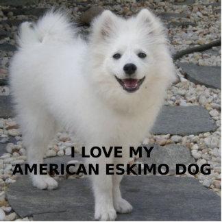 American_Eskimo_Dog_love w pic Photo Sculpture Key Ring