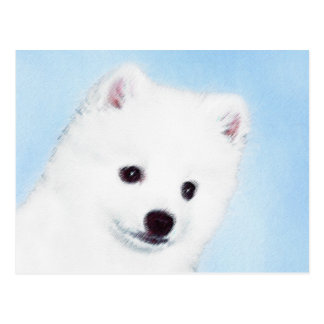 American Eskimo Dog Painting - Cute Original Art Postcard