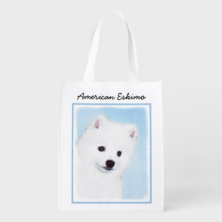 American Eskimo Dog Painting - Cute Original Art Reusable Grocery Bag