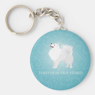 American Eskimo Dog Pet Loss Sympathy Design Key Chain