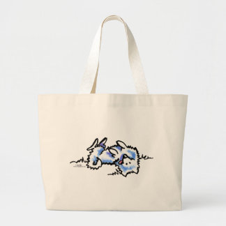 American Eskimo Dog Play Dead Large Tote Bag