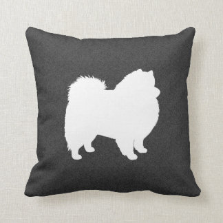 American Eskimo Dog Silhouette Throw Pillow