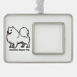 American Eskimo Dog Silver Plated Framed Ornament