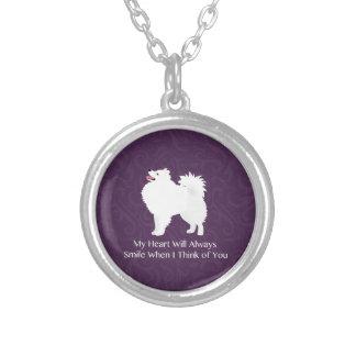 American Eskimo Dog Thinking of You Design Round Pendant Necklace
