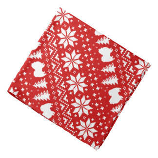 American Eskimo Dogs Christmas Sweater Pattern Red Bandana