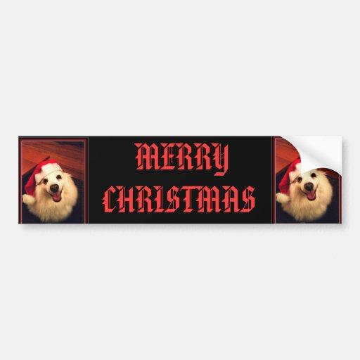 AMERICAN ESKIMO MERRY CHRISTMAS BUMPER STICKER