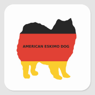 american eskimo name flag silo square sticker