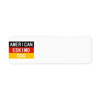 american eskimo name on flag return address label