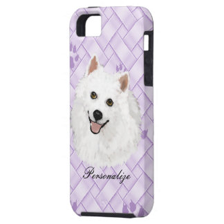 American Eskimo on Lavendar Weave w/pawprints iPhone 5 Cover