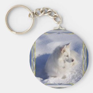 American Eskimo Ornament Frame Key Ring