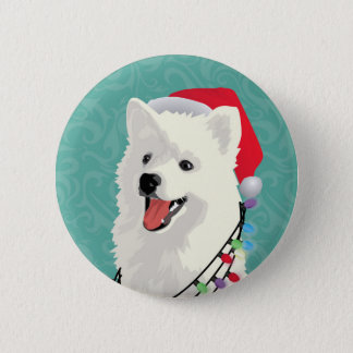 American Eskimo Samoyed Cute Puppy Dog Christmas 6 Cm Round Badge