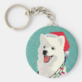 American Eskimo Samoyed Cute Puppy Dog Christmas Key Ring