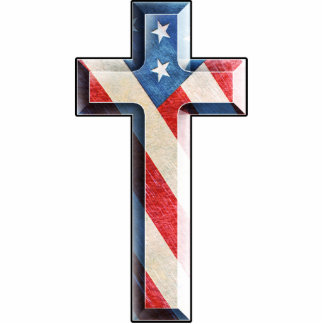 American Faith Cross Photo Sculpture Badge