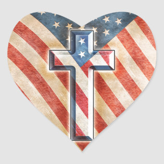 American Faith Heart Sticker