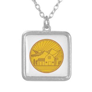 American Farm Barn House Mountain Circle Mono Line Silver Plated Necklace