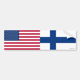 American & Finnish Flags Bumper Sticker