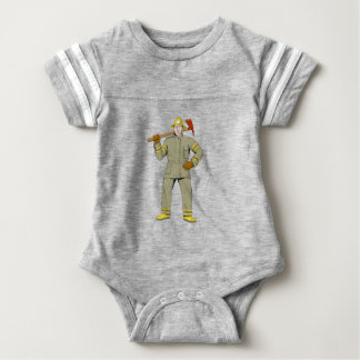 American Firefighter Fire Axe Drawing Baby Bodysuit