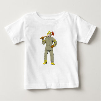 American Firefighter Fire Axe Drawing Baby T-Shirt