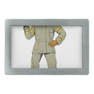 American Firefighter Fire Axe Drawing Belt Buckle