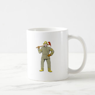 American Firefighter Fire Axe Drawing Coffee Mug