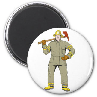 American Firefighter Fire Axe Drawing Magnet