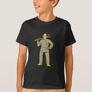 American Firefighter Fire Axe Drawing T-Shirt