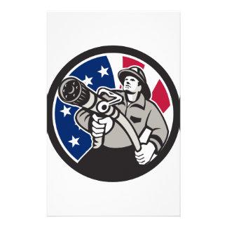American Fireman USA Flag Icon Stationery